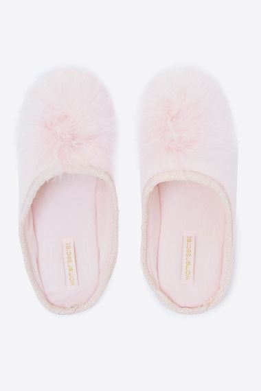 Pompon glamour slippers